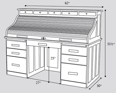 amish-rolltop-desk-drawing