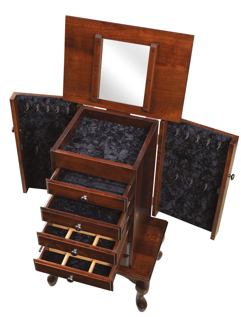 Queen anne jewelry armoire solid wood for Hidden jewelry drawer