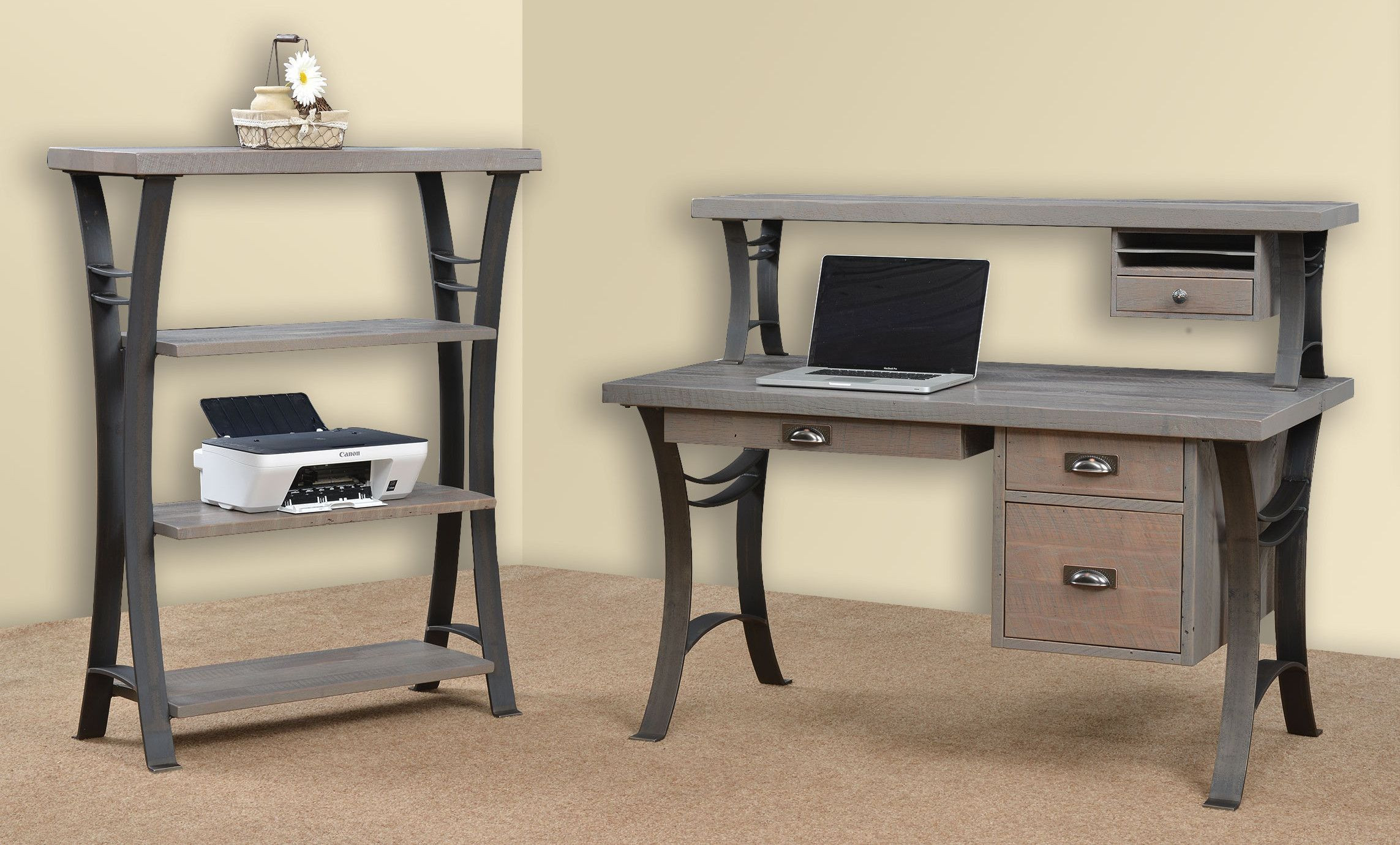 Solid Wood Writing Desks with Metal Base