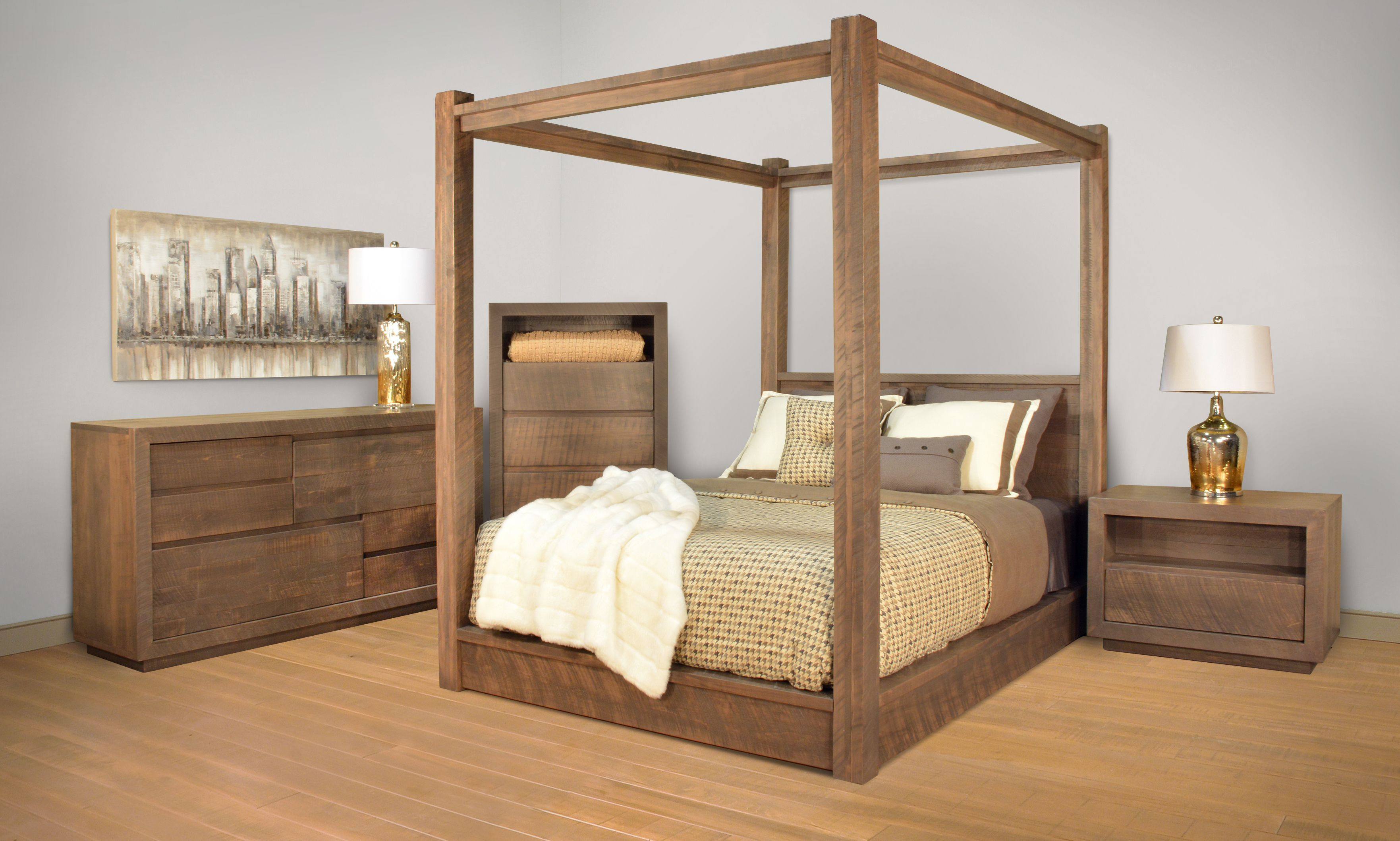 Ruff Sawn Greystone Bedroom Furniture Collection