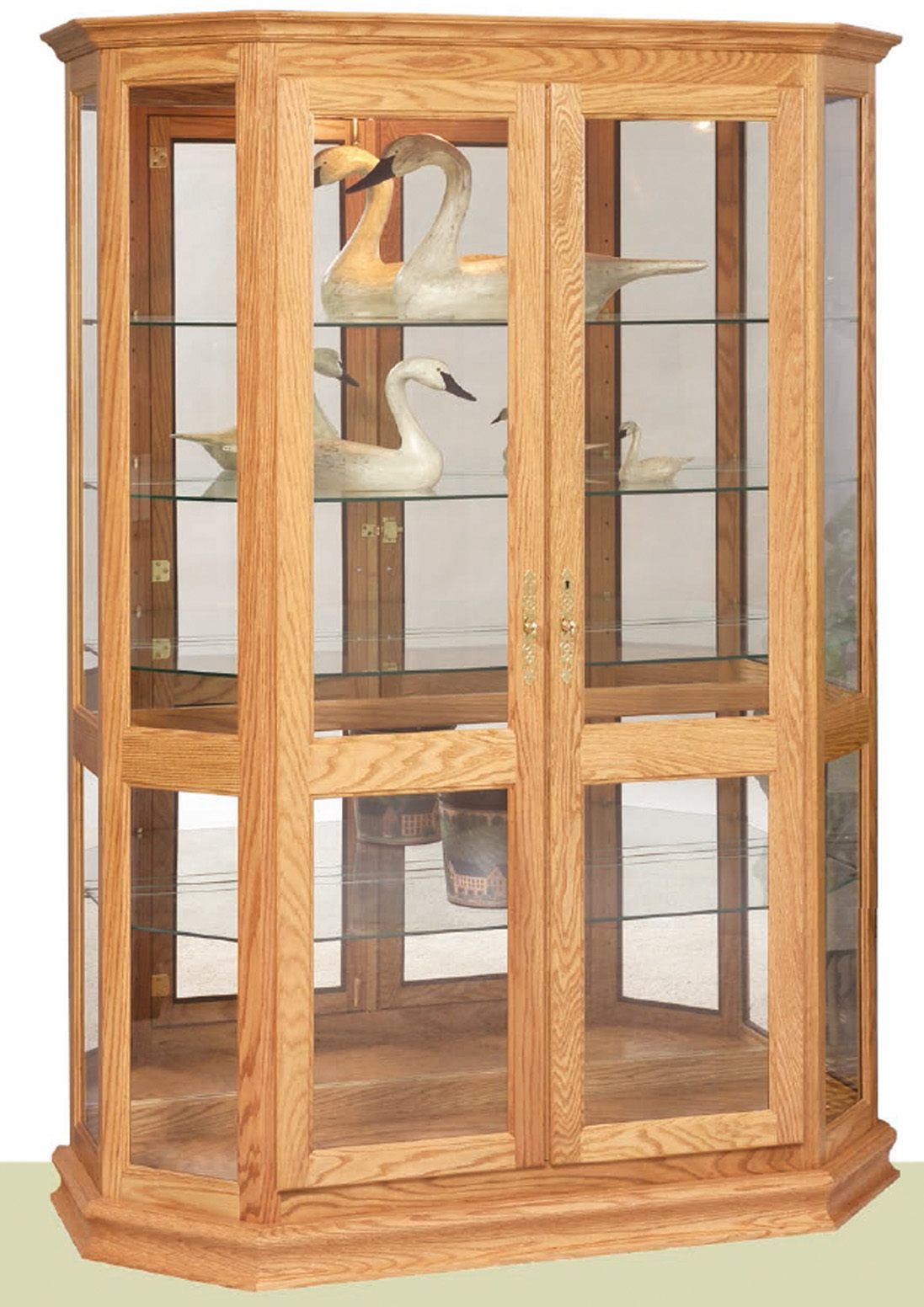 Angled Double Door Picture Frame Curio Cabinet