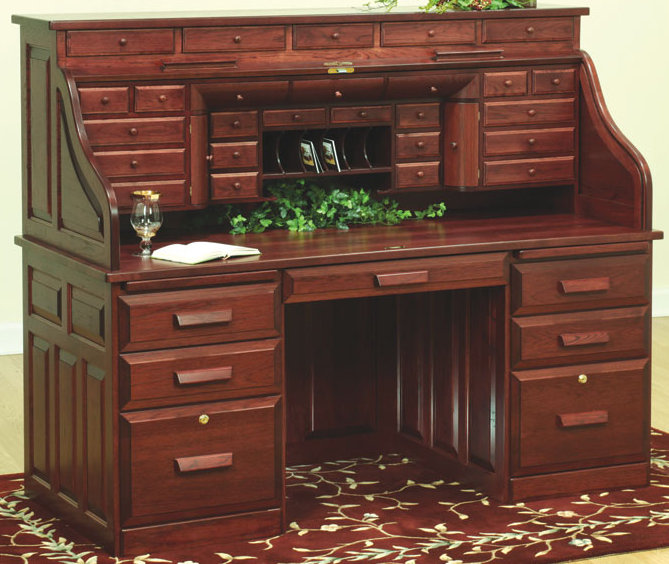 Deluxe Amish Hickory Roll Top Desk
