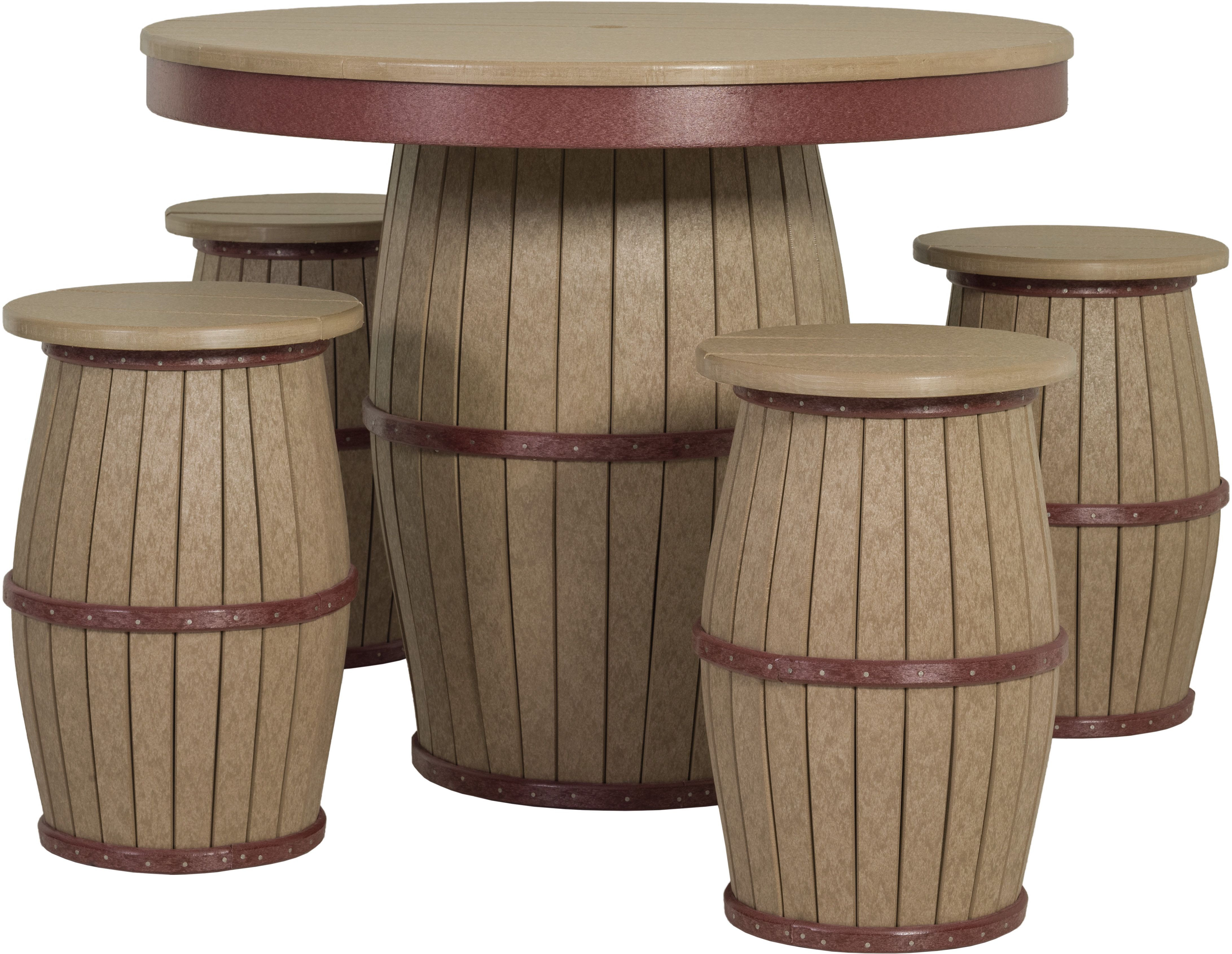 Poly Barrel Table And Stools