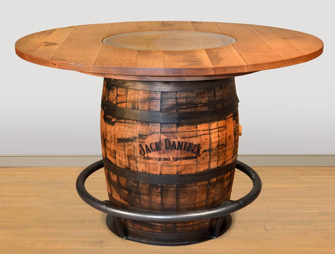 Ruff Sawn Jack Daniels Whiskey Barrel Pub Table