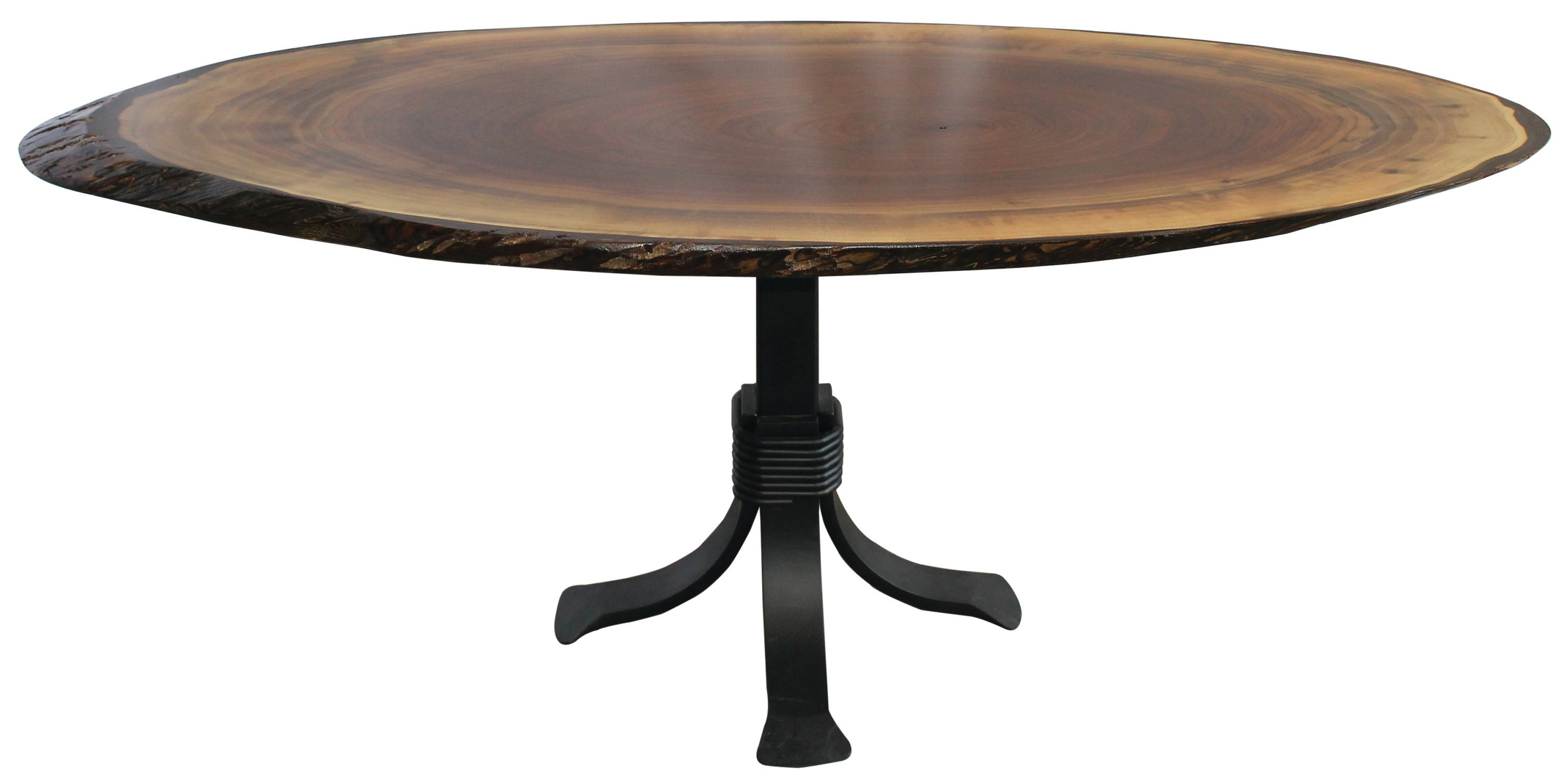 Walnut Oval Coffee Table With Pedestal Base