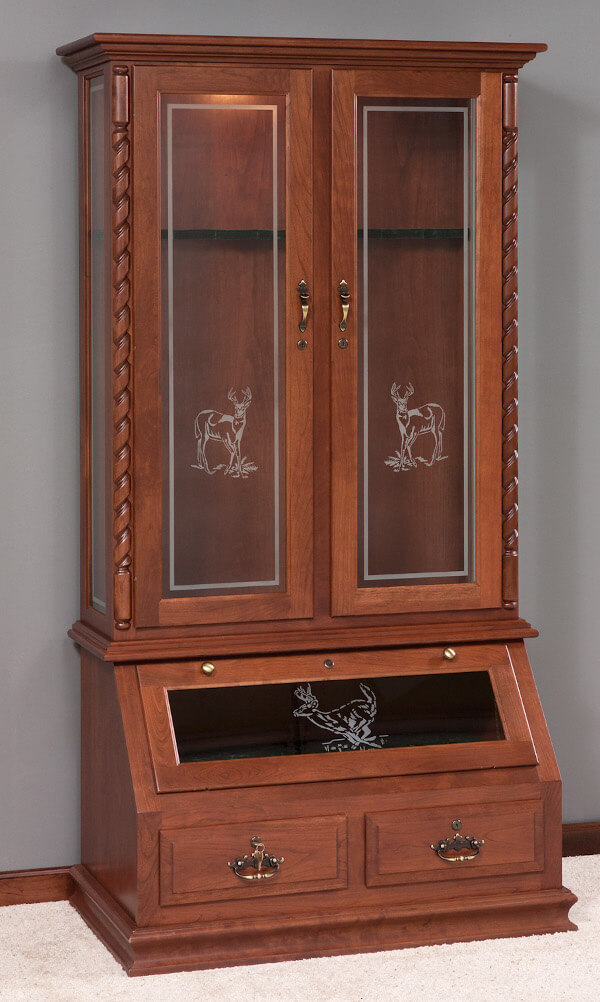 Glass Door Gun Cabinet With Rope Twist