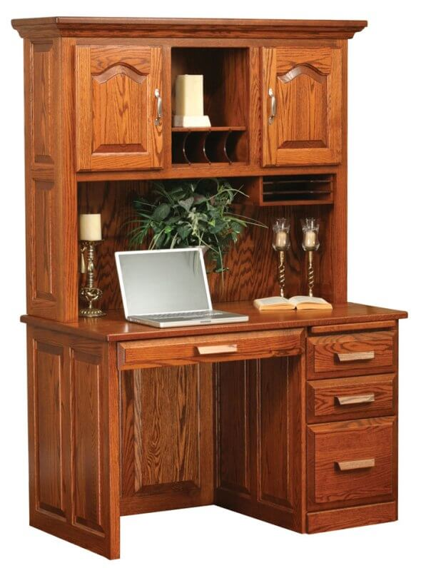 Computer Flat Top Desk With Hutch Cherry