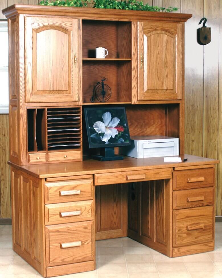 Computer Flat Top Desk With Hutch Oak