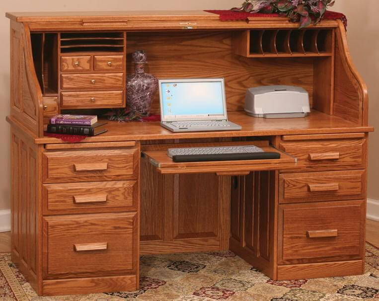 Solid Wood Computer Roll Top Desk Free Delivery