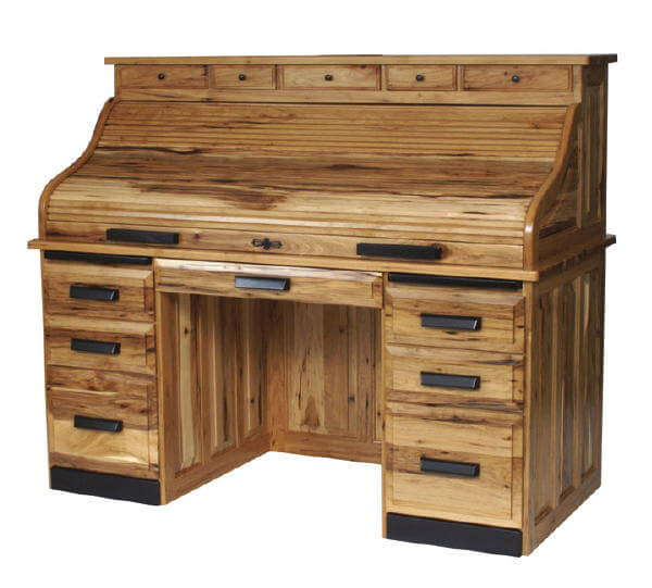 Amish Hickory Or Rustic Hickory Rolltop Desk Free Delivery